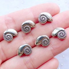 Nautilus Shell Beads | Silver Seashell Beads | Sea Shell Jewellery | Mini Marine Life Beads | Sealife Beads | Sea Animal Beads | Ocean Creature Beads | Beach Party Decoration | Small Hole Beads (6 pcs / Tibetan Silver / 11mm x 8mm / 2 Sided)