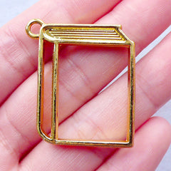 Book Open Bezel Charm | Outlined Book Pendant | Kawaii Epoxy Resin Supplies | Metal Deco Frame for UV Resin Filling | Novelty Jewellery Making (1 piece / Gold / 30mm x 34mm / 2 Sided)