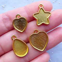 Kawaii Bezel Tray for UV Resin Jewellery Making | Heart Star Teardrop Bezel Cup Charm for Resin Filling | Bezel Bases for Epoxy Resin Crafts (4pcs / Gold)