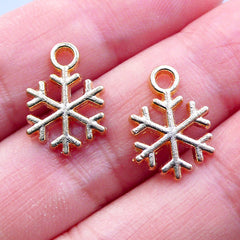 Small Snowflake Charms | Gold Snow Flake Drop | Snowflakes Pendant | Christmas Jewelry | Winter Holiday Charm | Mini Christmas Ornament (2pcs / Gold / 10mm x 15mm)