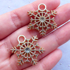 Gold Snowflake Pendant | Snow Flake Charm | Snow Drop | Christmas Ornament | Winter Charm | Party Decoration | Wine Glass Charm Making (2pcs / Gold / 24mm x 26mm / 2 Sided)