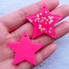 Kawaii Star Pendant with Star Confetti | Large Star Charm with Glitter | Decoden Resin Pieces | Magical Girl Jewelry | Cellphone Deco (2pcs / Dark Pink / 39mm x 36mm)