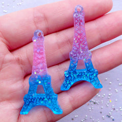 Eiffel Tower Resin Pendant | Galaxy Gradient Decoden Cabochon | Kawaii French Jewelry Making | Paris Travel Charm (2pcs / Pink & Blue / 22mm x 43mm / Flatback)