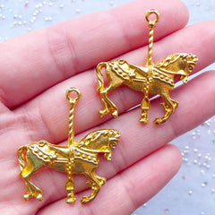 Carousel Horse Charm | Merry Go Round Pendant | Fairytale Jewelry Supplies | Kawaii Animal Charm (2 pcs / Gold / 29mm x 33mm)