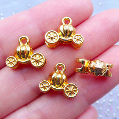 Pumpkin Carriage Charms in 3D | Cinderella Jewelry | Fairytale Princess Charm | Fairy Tale Pendant | Kawaii Jewellery Supplies (4pcs / Gold / 13mm x 11mm / 2 Sided)