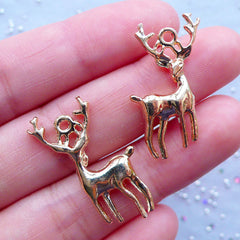 Gold Reindeer Charms | Animal Jewelry | Deer with Horn Pendant | Christmas Favor Decoration | Planner Charm DIY (3pcs / Gold / 18mm x 27mm / 2 Sided)