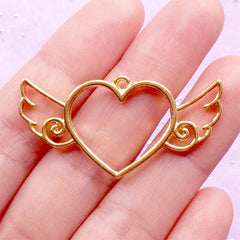 Winged Heart Open Back Bezel Pendant for UV Resin Crafts | Kawaii Charm | Heart with Angel Wing Charm | Hollow Deco Frame (1 piece / Gold / 41mm x 20mm)