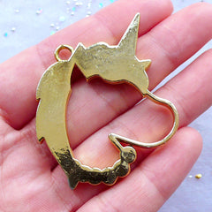 Unicorn Head Open Backed Bezel Charm | Deco Frame for UV Resin Filling | Kawaii Magical Girl Jewelry Making | Mahou Kei Pendant (1 piece / Gold / 38mm x 44mm)