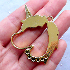 CLEARANCE Unicorn Head Open Backed Bezel Charm | Deco Frame for UV Resin Filling | Kawaii Magical Girl Jewelry Making | Mahou Kei Pendant (1 piece / Gold / 38mm x 44mm)