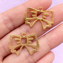 Kawaii Ribbon Open Backed Bezel Pendant | Deco Frame for UV Resin Filling | Cute Jewelry Findings (2 pcs / Gold / 25mm x 18mm)