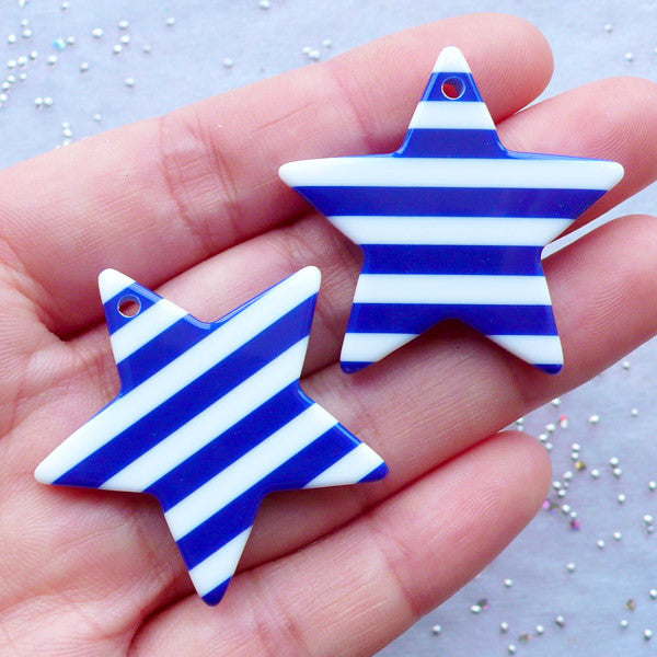 CLEARANCE Large Star Charms with Striped Pattern | Resin Star Pendant | Kawaii Chunky Jewelry Making | Decora Kei Accessories | Pop Kei Decoden (2 pcs / Dark Blue / 36mm x 34mm / 2 Sided)