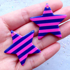 Striped Star Charms | Large Resin Stars | Kawaii Star Pendant | Chunky Jewellery Supplies | Colorful Decora Kei Decoden | Pop Kei Accessories (2 pcs / Pink & Blue / 36mm x 34mm / 2 Sided)