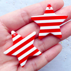 Stripe Star Resin Charms | Big Star Pendant | Kawaii Jewelry Supplies | Colorful Chunky Accessory DIY | Rockabilly Decoden (2 pcs / Red / 36mm x 34mm / 2 Sided)