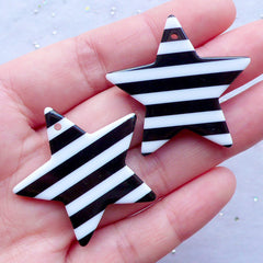 Chunky Star Charms | Large Star Pendant with Striped Pattern | Kitsch Jewelry Making | Kawaii Rockabilly Cabochon (2 pcs / Black / 36mm x 34mm / 2 Sided)