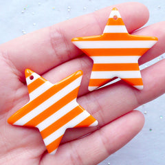 Kawaii Star Charms | Stripe Star Pendant | Rockabilly Jewelry Making | Resin Cabochon | Kitsch Decoden Supplies (2 pcs / Orange / 36mm x 34mm / 2 Sided)