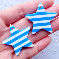 Kawaii Chunky Resin Charm Supplies | Cute Star Pendant | Harajuku Kei Jewelry DIY | Decoden Pieces | Rockabilly Phone Case Deco (2 pcs / Blue / 36mm x 34mm / 2 Sided)