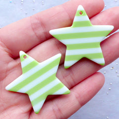 Cute Star Charms | Star Resin Pendant | Kawaii Decoden | Decora Kei Jewellery DIY | Cell Phone Deco (2 pcs / Green / 36mm x 34mm / 2 Sided)
