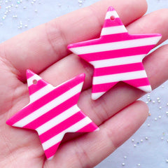 Star Charms with Stripe Pattern | Star Pendant | Kawaii Chunky Accessories DIY | Pop Kei Jewelry | Decoden Phone Case (2 pcs / Dark Pink / 36mm x 34mm / 2 Sided)