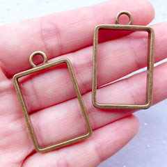 Rectangle Open Back Bezel Pendant | Outlined Rectangular Charms | Hollow Frame for UV Resin Jewellery Making | Geometry Charm Supplies (Antique Bronze / 2pcs / 22mm x 36mm)