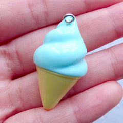 3D Ice Cream Pendant with Rhinestones | Fake Sweets Jewelry | Kawaii Food Pendant | Cute Chunky Jewelry Supplies | Decoden Phone Case (1 piece / Blue / 20mm x 35mm / 3D)