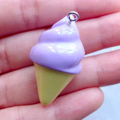 Cute Ice Cream Charm with Rhinestones | 3D Miniature Sweets | Kawaii Chunky Pendant | Decoden Supplies | Bag Charm DIY | Keychain Making (1 piece / Lavender Purple / 20mm x 35mm)