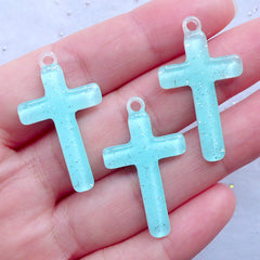 Glittery Cross Resin Charms | Kawaii Cross Pendant | Cute Religion Jewelry Making | Decoden Craft Supplies (3pcs / Blue / 19mm x 33mm)