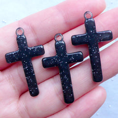 Kawaii Goth Cross Charms | Gothic Lolita Jewelry | Halloween Decoden Pieces | Resin Cabochon Pendant with Glitter (3pcs / Black / 19mm x 33mm)