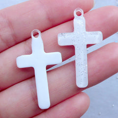 Kawaii Resin Charms | Cross Decoden Cabochons with Glitter | Religion Pendant | Cute Jewellery Supplies (3pcs / White / 19mm x 33mm)