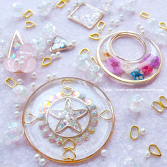 Outlined Star Open Frame | Cute Hollow Star Frame | Kawaii Deco Frame for UV Resin Jewelry Making (2pcs / Silver / 16mm x 15mm)