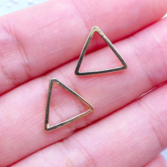 Small Triangle Open Backed Frame | Outlined Geometric Open Bezel for UV Resin Jewelry Making | Geometry Jewellery Findings (2 pcs / Gold / 12mm x 11mm)