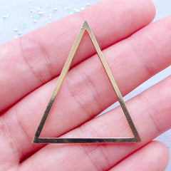 Triangle Deco Frame for UV Resin Jewelry Making | Geometry Open Backed Bezels | Kawaii Craft Supplies (1 piece / Gold / 31mm x 36mm)