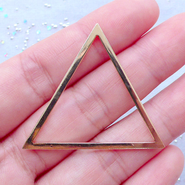Deco Frame for UV Resin Crafts | Triangle Open Back Bezels | Modern Geometric Jewellery Making (1 piece / Gold / 40mm x 35mm)