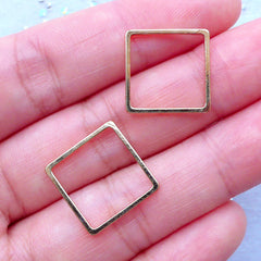 Square Open Frame | Outlined Geometric Deco Frame | Kawaii UV Resin Jewelry DIY | Connector Charms (2 pcs / Gold / 15mm x 15mm)