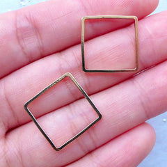 Outlined Square Deco Frame | Geometric Open Frame | Kawaii UV Resin Jewellery DIY | Resin Craft Supplies (2 pcs / Gold / 16mm x 16mm)