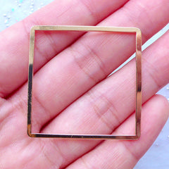 Large Square Open Back Frame | Hollow Deco Frame | Kawaii UV Resin Craft Supplies | Geometric Jewellery DIY (1 piece / Gold / 35mm x 35mm)