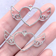 Heart with Angel Wing Open Bezel Charm for UV Resin Crafts | Winged Heart Pendant | Kawaii Deco Frame | Cute Jewelry Making (2 pcs / Silver / 41mm x 21mm)