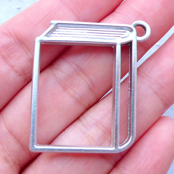Kawaii Open Bezel | Book Outline Charm | Epoxy Resin Jewelry Findings | Hollow Deco Frame for UV Resin Art (1 piece / Silver / 30mm x 34mm / 2 Sided)