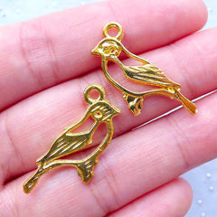 DEFECT Sparrow Charms | Outlined Bird Charm | Animal Nature Jewelry Supplies (6pcs / Gold / 23mm x 21mm)