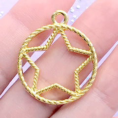 Kawaii Star Open Bezel for UV Resin Jewellery Making | Magical Girl Charm | Mahou Kei Pendant | Deco Frame for Resin Art (1 piece / Gold / 25mm x 30mm)