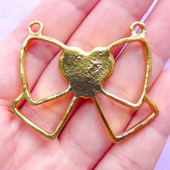 Ribbon with Heart Open Bezel Pendant | Kawaii Deco Frame for UV Resin Filling | Bow Outline Charm (1 piece / Gold / 45mm x 37mm)