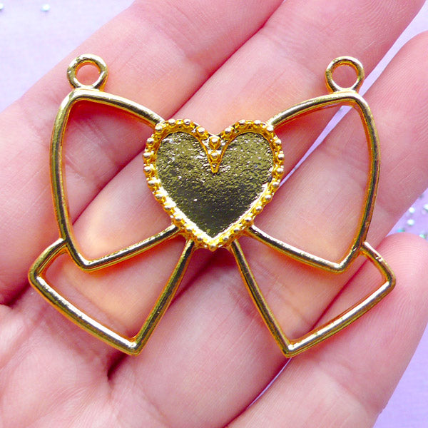 DEFECT Ribbon with Heart Open Bezel Pendant | Kawaii Deco Frame for UV Resin Filling | Bow Outline Charm (1 piece / Gold / 45mm x 37mm)