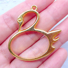 CLEARANCE Swan Open Bezel for Japanese UV Resin Crafts | Kawaii Deco Frame for Resin Filling | Animal Pendant | Bird Charm (1 piece / Gold / 37mm x 38mm / 2 Sided)