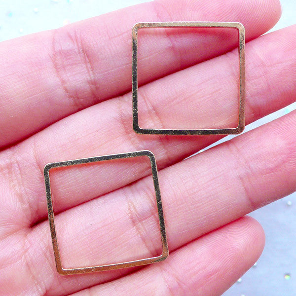 CLEARANCE Square Open Frame | Geometry Deco Frame | Kawaii UV Resin Art | Resin Jewelry Supplies (2 pcs / Gold / 20mm x 20mm)