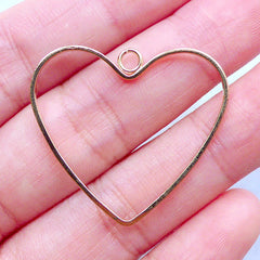 Outlined Heart Frame Charm | Open Deco Frame | Kawaii Open Back Bezel Supplies | UV Resin Jewelry DIY (1 piece / Gold / 32mm x 28mm)