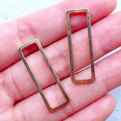 Rectangle Open Frame for UV Resin Filling | Outlined Rectangular Frame | Geometry Jewelry Findings (2 pcs / Gold / 10mm x 30mm)