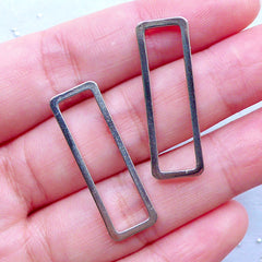 Rectangular Open Frame for Japan UV Resin Crafts | Rectangle Outline Frame | Geometry Deco Frames (2 pcs / Silver / 10mm x 30mm)