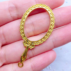 Hand Mirror Open Bezel Charm with Lace Border | Kawaii Deco Frame for UV Resin Filling | Lolita Accessories (1 piece / Gold / 25mm x 49mm)