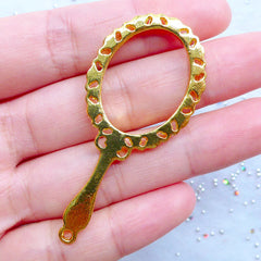 Mirror Open Backed Bezel Charm with Filigree Border | Cute Deco Frame for Kawaii UV Resin Art (1 piece / Gold / 25mm x 56mm)