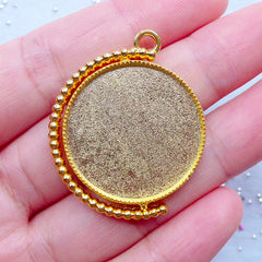 Turnable Round Bezel Setting Charm | Rotating Bezel Tray Pendant | Blank Bezel Cup | Kawaii UV Resin Craft Supplies (1 piece / Gold / 30mm x 36mm)
