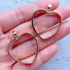 Heart Open Backed Bezel Charms for UV Resin Jewelry Making | Outlined Heart Pendant | Hollow Deco Frame for Resin Filling (Gold / 2pcs / 28mm x 34mm)